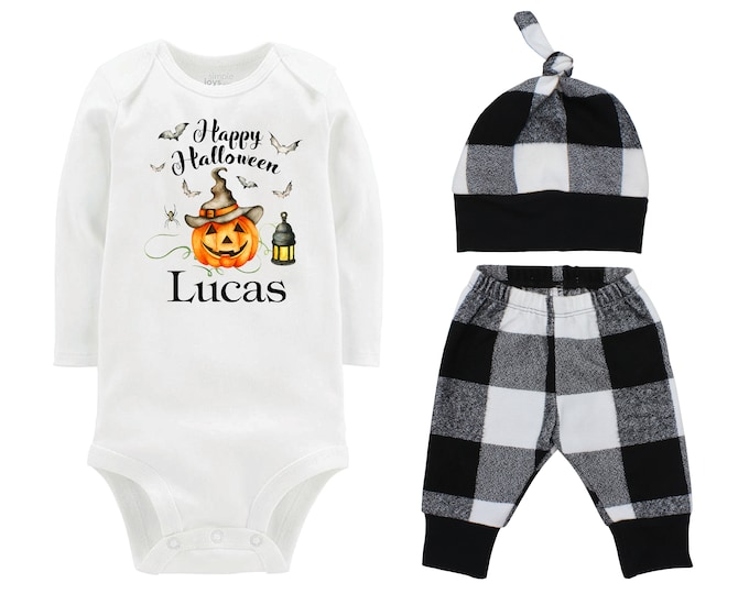 Happy Halloween Jack-O-Lantern Personalized Outfit Fall Baby Outfit Fall Plaid Pants Knot Hat Black White Pants Boyish Halloween Onesie