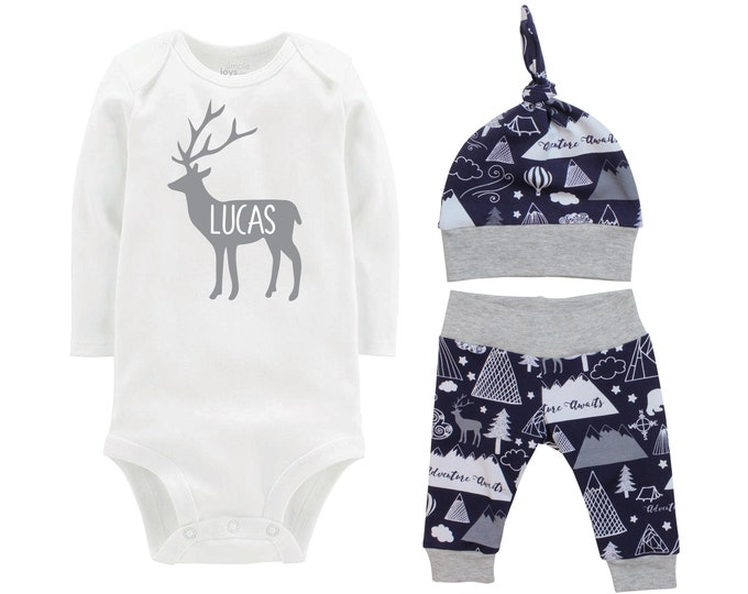 Personalized Boy Going Home Set Deer Navy Gray Onesie Bodysuit Adventure Infant Gift Set Monogram Boy Coming Home Outfit Buck Deer