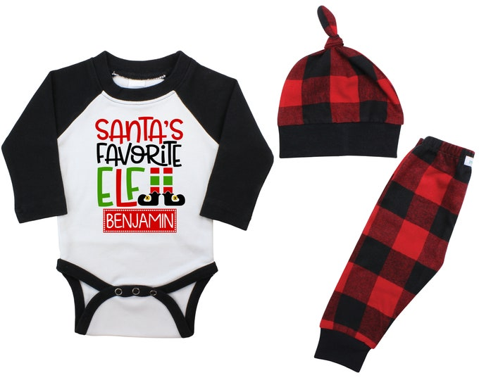 Santa's Favorite Elf Personalized Christmas Raglan Outfit Boy Christmas Bodysuit Red Buffalo Flannel Pants Winter Red Black Buffalo Plaid