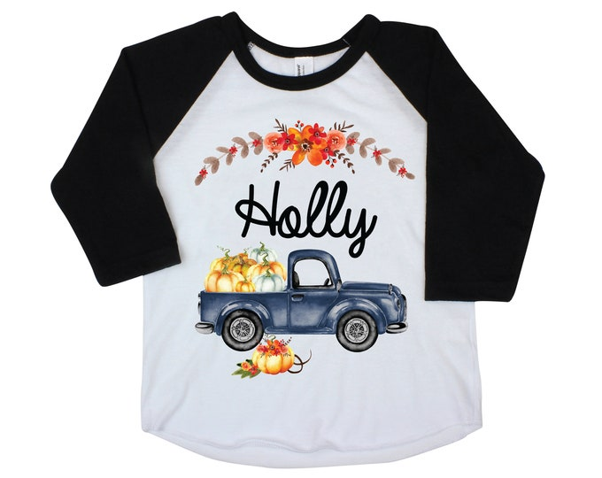 Girl Fall Pumpkin Truck Shirt Orange Ruffle Raglan Black Raglan Shirt Personalized Flutter Sleeve Fall Floral Girl Pumpkin Patch Fall Floral