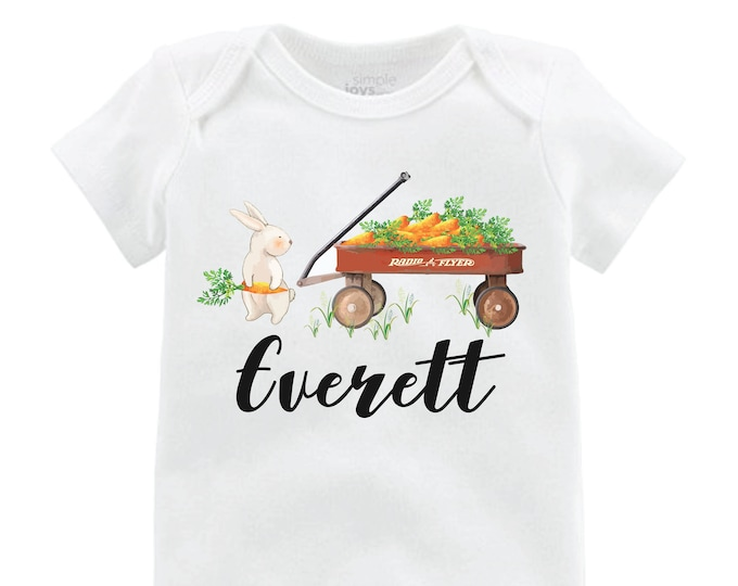 Boy Easter Shirt Bunny Onesie Personalized Wagon Shirt Baby Easter Shirt Easter Bunny Shirt Red Wagon Carrot Bunny Name Shirt Boy Easter