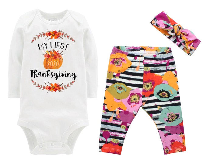 First Thanksgiving Girl Fall Pumpkin Outfit Paparounes Watercolor Floral Turkey Yoga Leggings Headband Infant Outfit Pumpkin Orange Dated