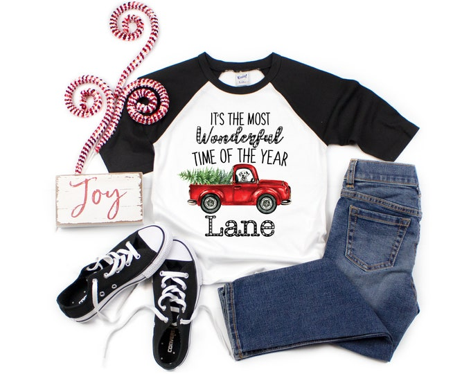 It's the Most Wonderful Time of the Year Boy Christmas Shirt Red Truck Christmas Tree Dog Personalized Buffalo Plaid Raglan Old Red Truck