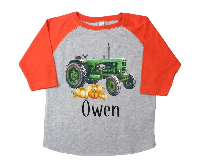 Green Tractor with Pumpkins Gray Orange Raglan Personalized Boy Pumpkin Patch Shirt Boyish Fall Shirt Vintage Green Tractor Farming Farm