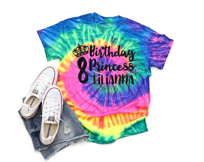 Birthday Princess Neon Tie Dye Shirt Bright Black Glitter Vinyl Princess Crown Birthday Girl Shirt Party Shirt Girl Tie Dye Birthday Shirt