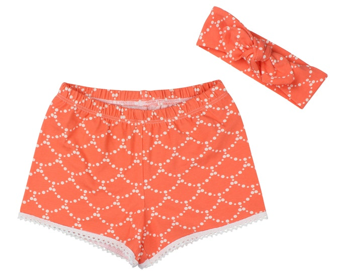 Girls Shorts Baby Shorts Lace Trimmed Shorts Baby Headband Coral Ripple Cute Girl Pattern Child American Made Handmade Girl Baby Clothing