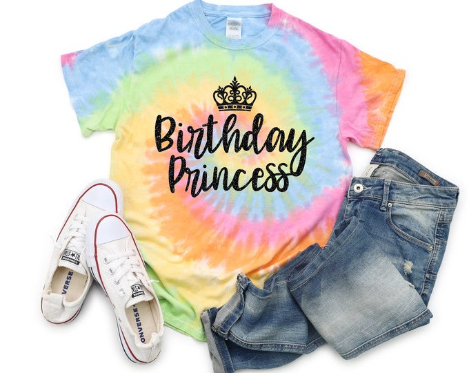 Birthday Princess Tie Dye Shirt Bright Black Glitter Vinyl Princess Crown Birthday Girl Shirt Party Shirt Girl Tie Dye Birthday Shirt