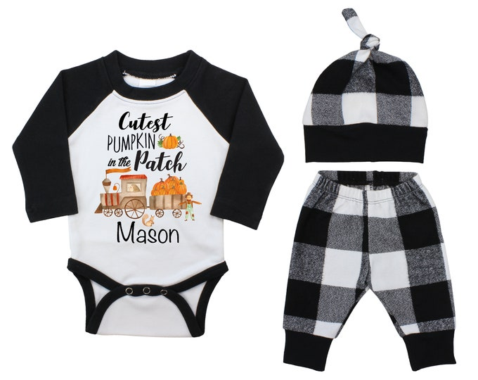 Boy Cutest Pumpkin In The Patch Personalized Outfit Fall Old Train Outfit Fall Plaid Pant Knot Hat Pumpkins Black White Baby Bodysuit Raglan