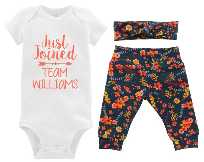 Fall Just Joined Team Personalized Going Home Outfit Teal Orange Green Red Floral Yoga Leggings Headband Infant Outfit Last Name
