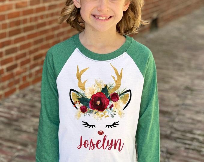 Girl Unicorn Christmas Shirt Green Gold Glitter Reindeer Rose Watercolor Floral Personalized Christmas Heather Green Raglan Dark Flowers