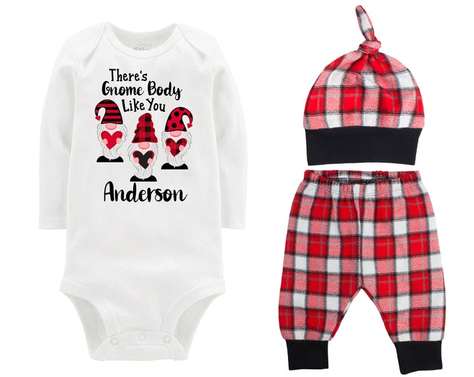 Baby Boy Valentine's Day Plaid Gnomes Personalized Outfit Valentines Day Gnome Body Like You Bodysuit Boy Buffalo Plaid Flannel Pants