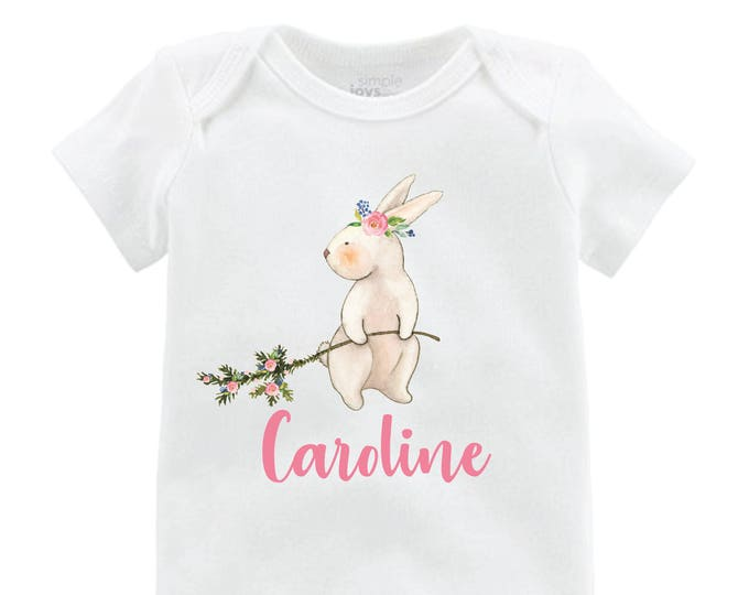 Girl Easter Bunny Shirt Easter Bunny Onesie Personalized Onesie floral Raglan Flutter Sleeve Girl Shirt Monogram Shirt Easter Rabbit Flowers