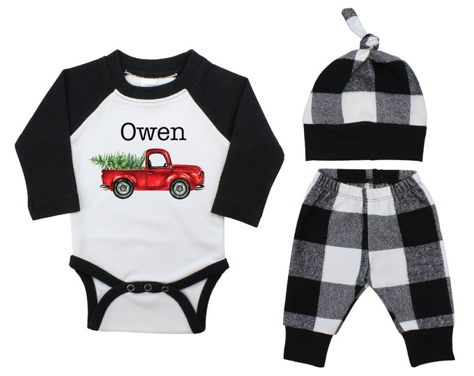 Boy Personalized My First Christmas Outfit Baby Raglan Outfit Winter Pants Knot Hat Vintage Red Truck Black White Plaid Baby Bodysuit Raglan