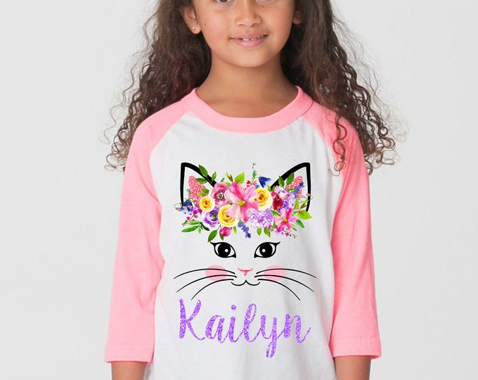 Watercolor Floral Cat Face Shirt Personalized Name Shirt Kitty Cat Face Raglan Shirt Pink Bright Flowers Pink Purple Yellow Birthday Cat