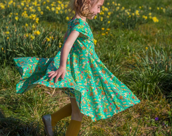 Green Summer Twirly Dress Flowers Floral Spring Easter Dress Toddler Dress Girl Dress Pink Green Twirl Dress Short Sleeve Knit