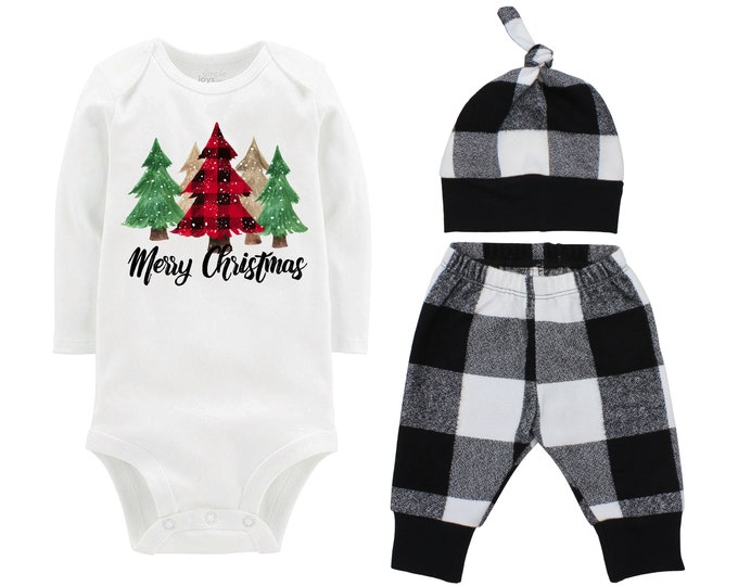 Girl Merry Christmas Buffalo Plaid Christmas Pine Trees Outfit White Buffalo Plaid Flannel Red Black Girl Flannel Infant Xmas Winter Outfit