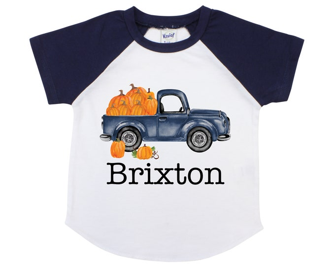 Old Truck Pumpkin Shirt Personalized Boy Pumpkin Patch Shirt Boyish Fall Shirt Old Blue Truck with Pumpkins Vintage Truck Shirt