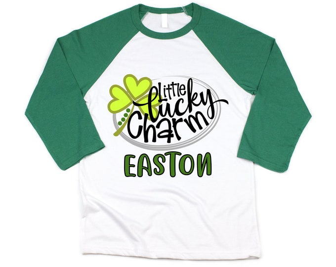 Boy St. Patricks Day Little Lucky Charm Shirt Green Raglan Shamrock Shirt Personalized Boy Saint Patricks Day Shirt