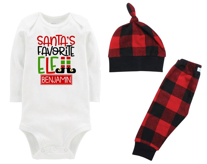 Santa's Favorite Elf Personalized Christmas Outfit Boy Christmas Bodysuit Red Black Buffalo Flannel Pants Winter Boy Red Black Buffalo Plaid