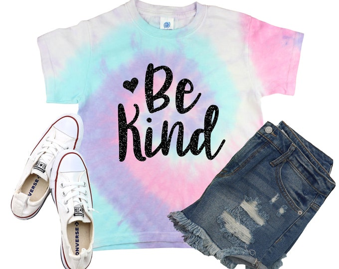 Be Kind Girl Minty Neon Pastel Tie Dye Shirt Galaxy Bright Black Glitter Vinyl Inspirational Shirt Party Girl Tie Dye Motivational Shirt