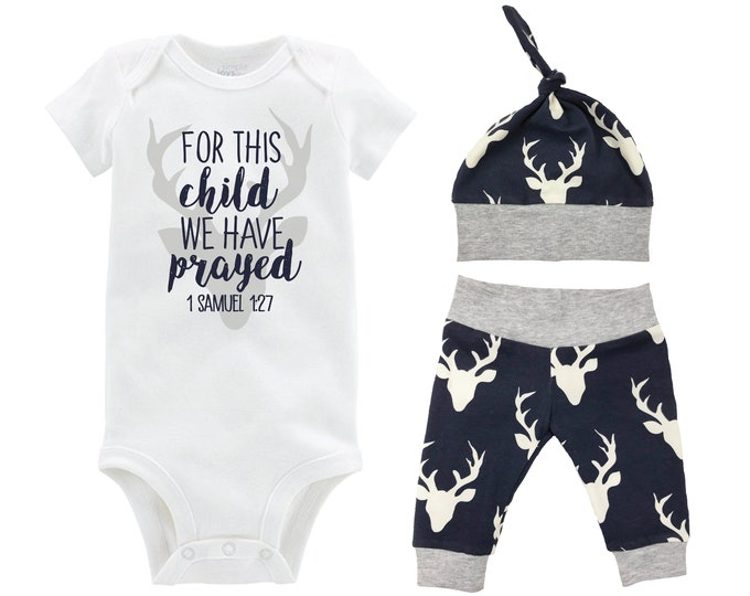Boy For This Child We Have Prayed Going Home Outfit Yoga Pants Navy Gray Deer Boy Coming Home Top Knot Hat Baby Shower Gift Newborn Baby