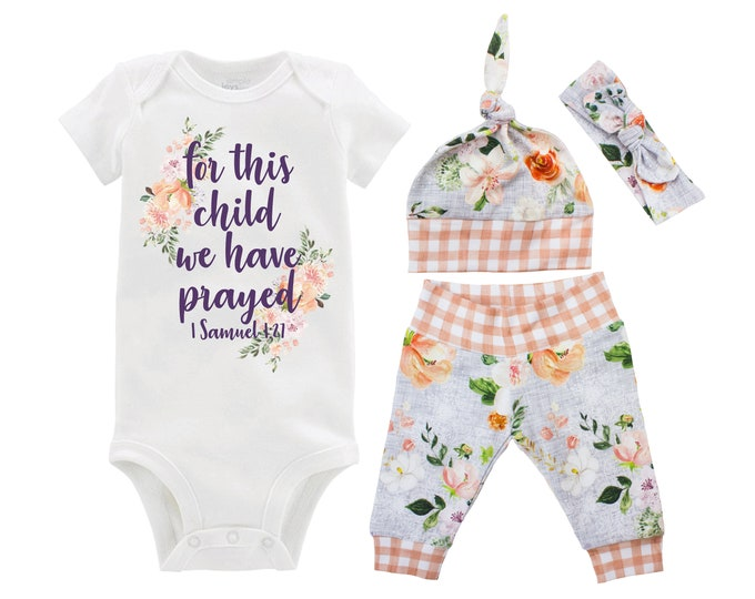 Girl For This Child We Have Prayed Gray Wedding Floral Going Home Outfit Yoga Pants Coming Home Top Knot Hat Baby Shower Gift Newborn Baby