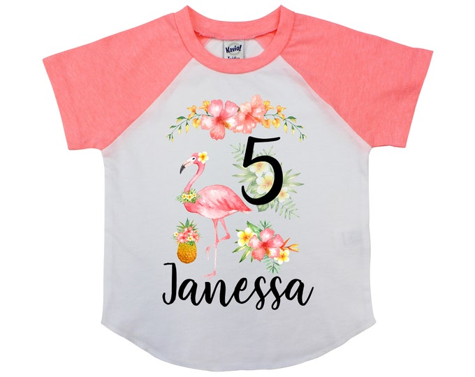 Flamingo Girl Birthday Shirt Personalized Tropical Watercolor Floral Pineapple Shirt Flowers Yellow Coral Peach Beach Flowers