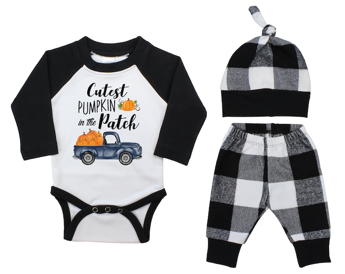 Boy Cutest Pumpkin In The Patch Outfit Fall Old Truck Outfit Fall Plaid Pants Knot Hat Pumpkins Black White Plaid Baby Bodysuit Raglan