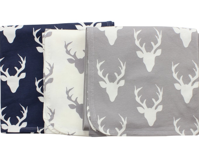 Buck Deer Newborn Swaddle Set Swaddle Blanket Boy Top Knot Hat Boy Swaddle Set Stag Deer Blanket Jersey Swaddle Baby Blanket Navy Gray White