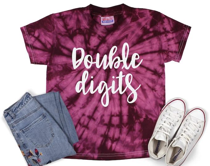 Double Digits Birthday Tie Dye Shirt Galaxy Bright Black Glitter Vinyl Birthday Girl Shirt Birthday Party Shirt Girl Birthday Shirt