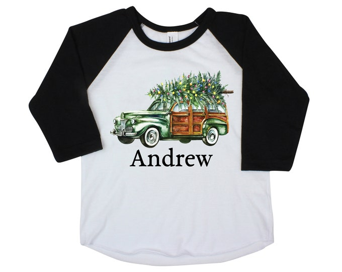 Boy Christmas Shirt Green Car Christmas Tree Lights Personalized Raglan Old Green Car Name Shirt Boy Toddler Baby Youth Shirt Station Wagon