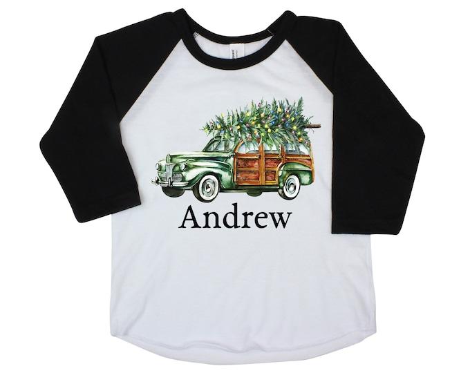 Boy Christmas Shirt Green Car Christmas Tree Lights Personalized Raglan Old Green Car Name Shirt Boy Toddler Baby Youth Shirt Station Wagon