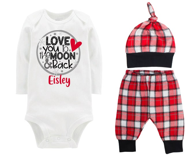 Baby Boy Valentine's Day Moon Personalized Outfit Valentine Love You To The Moon And Back Bodysuit Baby Boy Buffalo Plaid Flannel Pants