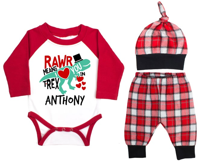 Baby Boy Valentine's Day Dinosaur Personalized Raglan Outfit Boy Valentines Day Rawr Means I Love You In Trex Buffalo Plaid Flannel Pants