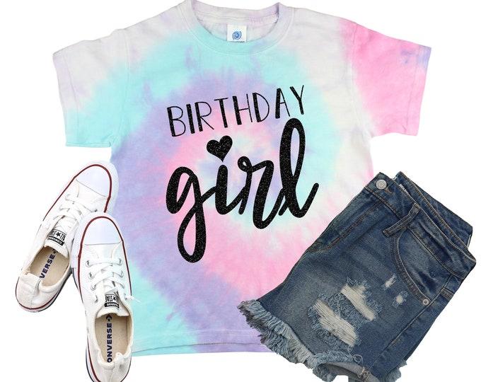 Birthday Girl Unicorn Tie Dye Shirt Galaxy Bright Black Glitter Vinyl Birthday Girl Shirt Birthday Party Shirt Girl Birthday Shirt