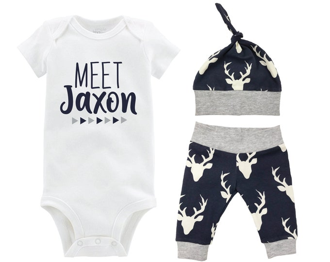 Boy Personalized Meet Name Going Home Outfit Bodysuit Infant Gift Set Navy Gray Deer Boy Coming Home Yoga Pants Baby Shower Newborn Outfit