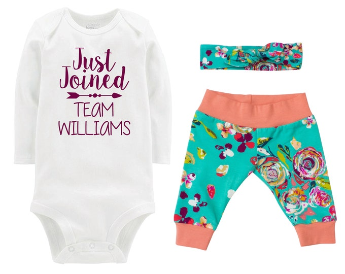 Girl Going Home Outfit Just Joined Team Newborn Infant Set Fall Watercolor Floral Yoga Leggings Headband Arrow Teal Floral Infant Gift Set