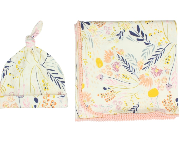 Wild Flower Newborn Swaddle Set Swaddle Blanket Top Knot Hat Knot Headband Wild Flower Pom Pom Blanket Jersey Swaddle Baby Blanket