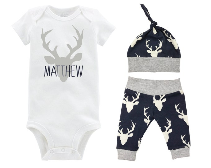 Personalized Boy Going Home Set Deer Navy Gray Bodysuit Infant Gift Set Monogram Boy Coming Home Outfit Buck Deer Grey and Navy Gift