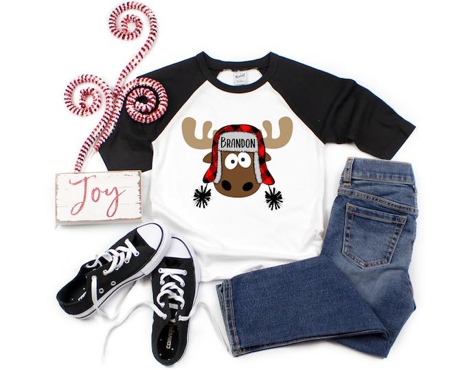 Boy Christmas Moose Personalized Raglan Buffalo Plaid Moose with Name Crazy Moose Boy Christmas Shirt Holiday Shirt Winter Shirt Funny