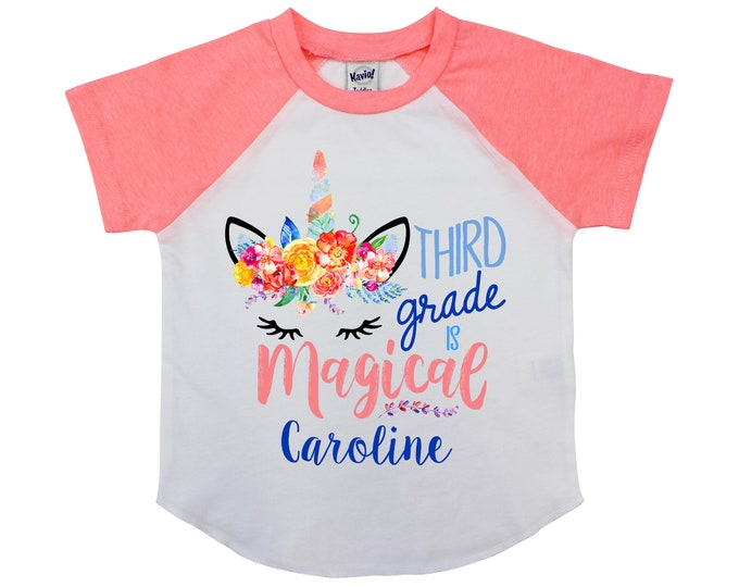 Third Grade is Magical Unicorn 3rd Grade Shirt Personalized Back to School Shirt Girl Back to School Name Shirt Raglan Unicorn School