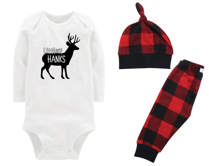 Boy Littlest Christmas Deer Personalized Last Name Outfit  Boy Christmas Bodysuit Buffalo Flannel Pants Winter Boy Red Black Buffalo Plaid