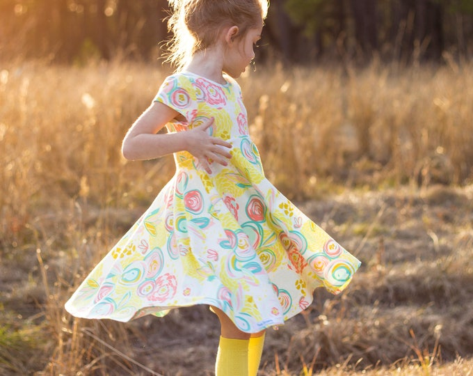 Easter Dress Spring Dress Twirly Easter Dress Toddler Dress Girl Dress Summer Dress Pastel Dress Mint Yellow Pink Twirl Dress Short Sleeve