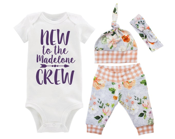 Girl Going Home Outfit New to the Crew Newborn Infant Set Orange Gray Wedding Floral Yoga Leggings Headband Arrow Floral Infant Gift Set
