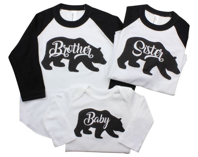 Brother Bear Baby Bear Sister Bear Bodysuits or Raglans Sister Brother Shirts Black Bear Shirts Sibling Shirts