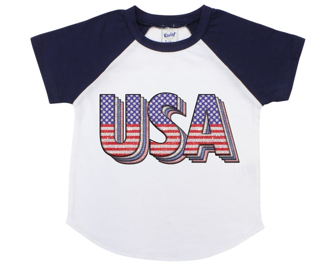 Retro USA American Flag Raglan or Bodysuit USA Fourth of July Independence Day 4th of July Unisex Shirt Boy Girl Shirt Flag Toddler Baby
