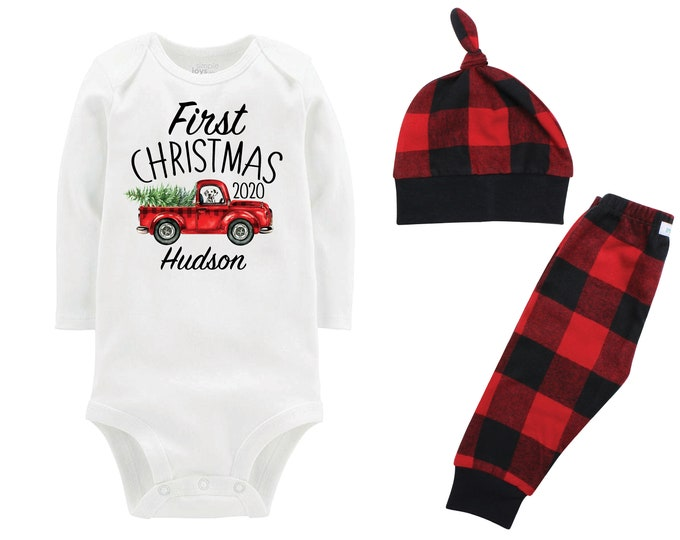 Boy First Plaid Christmas Personalized Red Truck Outfit Christmas Dog Bodysuit Buffalo Flannel Pants Winter Boy Red Gray Black Buffalo Plaid