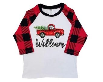 72538aa228d Boy Christmas Shirt Red Truck Buffalo Plaid Christmas Tree Personalized  Raglan Old Red Truck Dog Shirt Boy Toddler Baby Youth Shirt Black