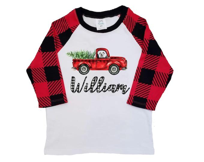 4f982caa2 Boy Christmas Shirt Red Truck Buffalo Plaid Christmas Tree Personalized  Raglan Old Red Truck Dog Shirt