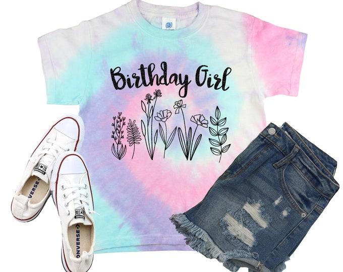 Birthday Girl Unicorn Tie Dye Shirt Galaxy Bright Black Glitter Vinyl Birthday Girl Shirt Birthday Party Shirt Girl Tie Dye Birthday Shirt